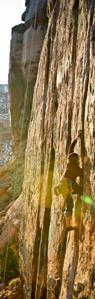 photo - Adrienne Boland rock climbing
