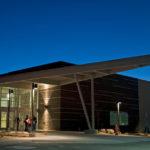photo - Colorado Mountain College Rifle campus entry at dusk
