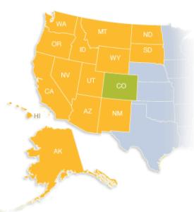 map showing WUE states: Alaska, Arizona, California, Hawaii, Idaho, Montana, Nevada, New Mexico, North Dakota, Oregon, South Dakota, Utah, Washington and Wyoming.