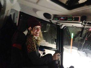 Photo of Karen Gilliot driving snowcat