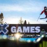 photo: Isaacson School photograph student work, skier at X Games at dusk