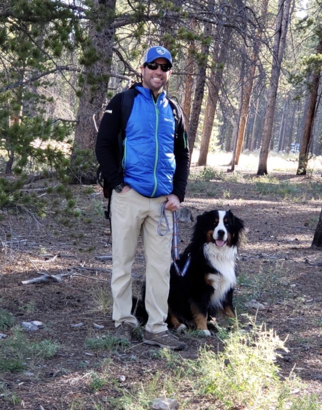 Simon Waldbaum CMC Leadville professor with his dog